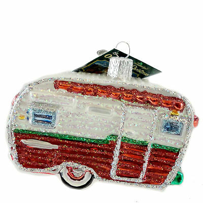 Old World Christmas TRAVEL TRAILER Blown Glass Ornament Camping 46041