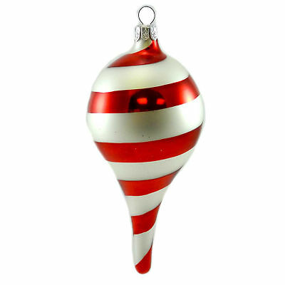 Holiday Ornament SWIRL DROP Glass Christmas Peppermint Z127104