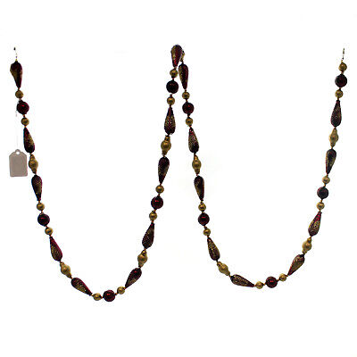 Christina's World GOLD AND PLUM SPHERE GARLAND Glass Czech Beads Gar005