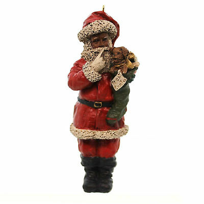 All Gods Children SANTA & SCOOTY Polyresin African American Puppy Stocking 1571