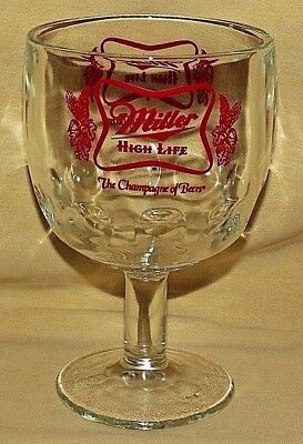 Miller Beer Glass High Life Thumbprint Goblet Clear Red Graphic Champagne Bar