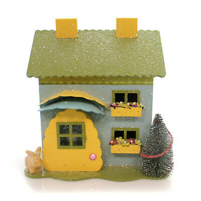 Nancy Malay BUNNY COTTAGE BLUE Wood Easter House Rabbit 33252