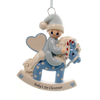 Personalized Ornament BLUE ROCKING HORSE Polyresin Baby's 1st Christmas 1423B