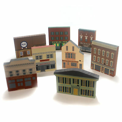 Cats Meow Village SERIES X SET / 8 Wood Retired Series X S/8
