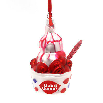Holiday Ornaments DAIRY QUEEN STRAWBERRY SUNDAE Glass Ice Cream 4051758