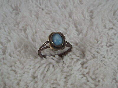 Sterling Silver Blue Larimar Stone Ring ~ Size 6 (D40)