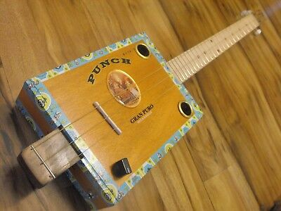 Weeklyhouse Cigar Box Guitar Acoustic Electric 3 String  Watch A Video Demo 0