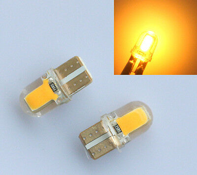 2pcs T10 194 168 W5W COB 8 SMD SILICA Super Bright LED light Bulb Amber/Yellow
