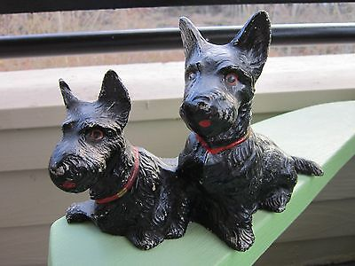 Vintage Original Double Scotties Full Figure Cast Aluminum Dog Home Art Statue