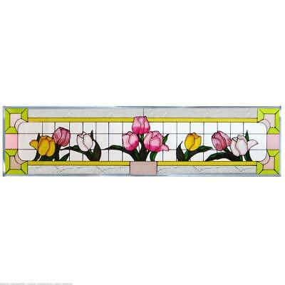 Tulips Painted Glass Panel R-107