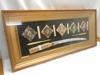 Japanese Vintage Display Wall Hanging Ornamental Sword Katana Tsuba Plaque #1