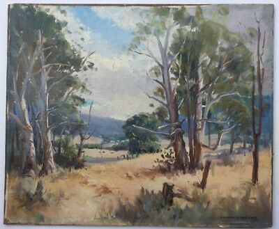 Laurence D Kermond Australian Scene Oil On Canvas Board