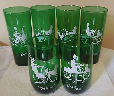 6 anchor hocking drinking glasses green nice ones different designs