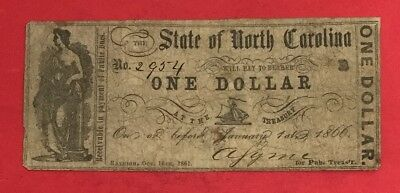 1866 $1 US State of North Carolina Dollar! VG! Old US Paper Money Currency!