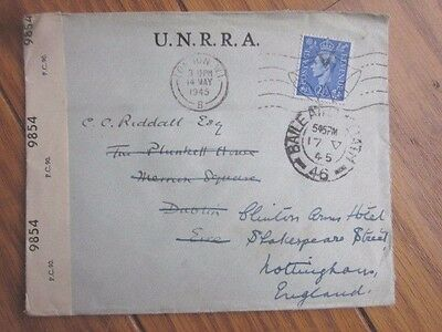 England 1945 Unrra Ww2 Refugee Official Cover To Ireland Forwarded To Nottingham