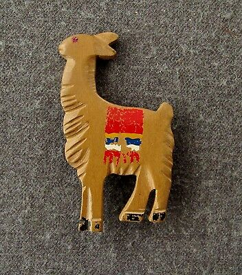 Vintage 40's Artisan Crafted Large  Jeweled Eye Ethnic Llama Painted Wood Pin