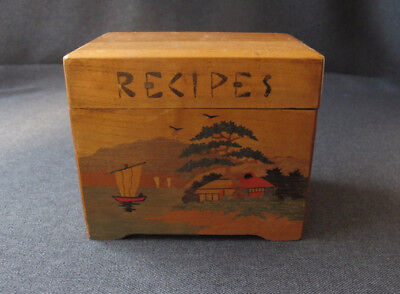 Vintage Marquetry Japanese Landscape Wooden Recipes Box