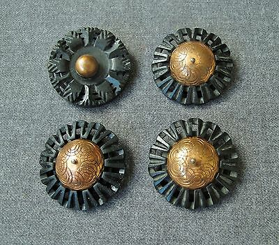 4 Vintage 30's Carved Black Galalith & Metal Flower Buttons