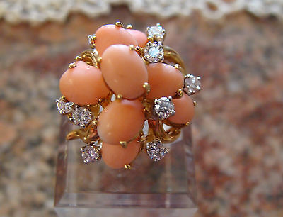 Natural Coral & Diamond Cluster 18k Y Gold Cocktail Ring Size 6 Stunning