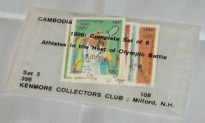 Vintage Lot Cambodia Postmarked Olympics Set of 6 1995 Kenmore Collectors Club