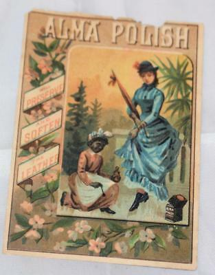 Vintage Late 1800's Victorian Trade Card Advertising Alma Polish Black Americana