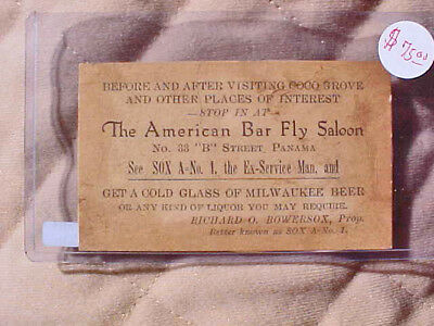 American Bar Fly Saloon Panama, Canal Exonumia 1932 Cold Glass Of Beer