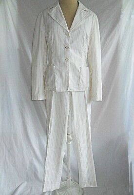 Piazza Sempione Pants Suit Deadstock NOS Trophy Jacket Blazer White 42 40 Italy