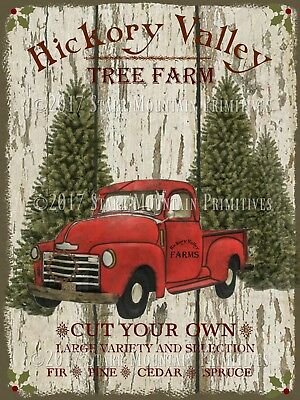 Primitive Old Red Truck Christmas Tree Farm Chippy Shiplap Print 8x10