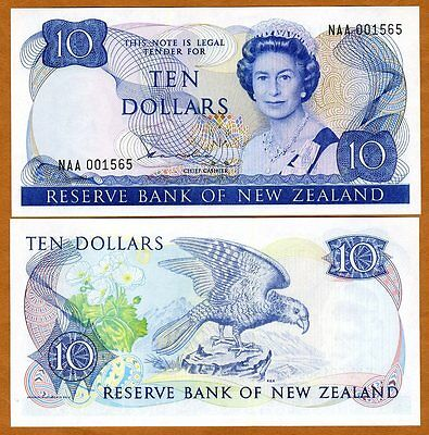New Zealand, $10, P-172a, 1981-1985, QEII,  UNC > NAA Lower S/Ns Scarce