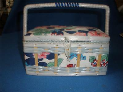 Retro Fabric And Plastic Sewing Box Small