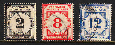 Fed. Malay States — Scott J2//j6 (Sg D2//d6) — Postage Dues — Used — Scv $47.50
