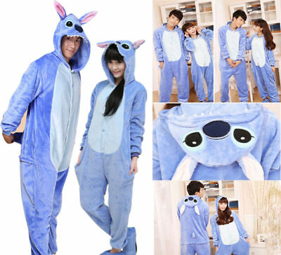 Unisex Adult Kigurumi Pajama Anime Costume Dress Blue Stitch Sleepwear Halloween
