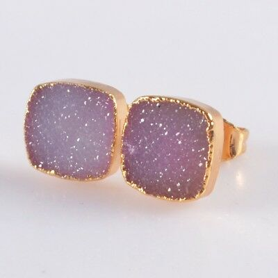 10mm Square Hot Pink Agate Druzy Geode Stud Earrings Gold Plated B049181