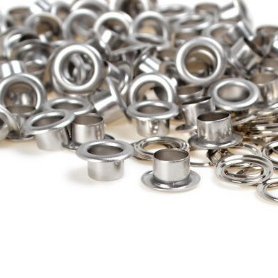 New Silver 100 Sets Size 6/8/10mm Eyelets w/Washer Grommets For Leather Craft