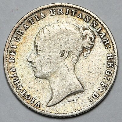 1866 Queen Victoria Great Britain Silver Sixpence Six Pence 3D Coin
