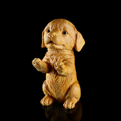 JP114 - 9X5X6 CM Carved Boxwood Carving Figurine : Lovely Dog
