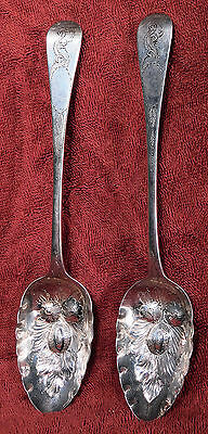 Antique Georgian Sterling Silver Fruit Serving Berry Spoons London 1808 Repousse