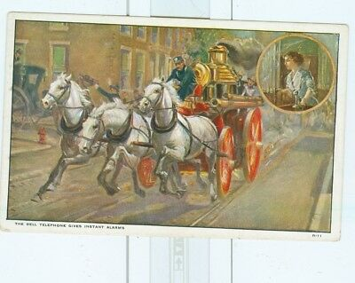 Vintage Bell Telephone Postcard with Horse Drawn Fire Engine