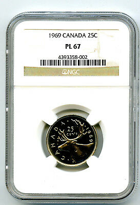 1969 Canada 25 Cent Ngc Pl67 Proof Like Quarter Super Rare Top Pop Only 6 !!