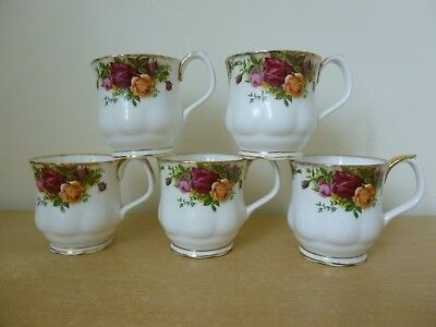 5 Royal Albert Old Country Roses Coffee Mugs - Montrose Shape - Seconds