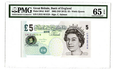 2002 ND 2012 5PD GREAT BRITAIN BANK OF ENGLAND PMG 65 EPQ #391d BANKNOTE SALMON