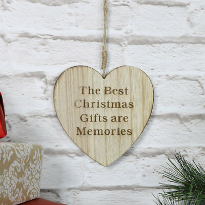 wooden hanging Christmas heart ornament gift memories decoration vintage