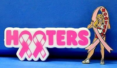 Lot Of 2 Hooters Restaurant Girl Breast Cancer Awareness Pink Ribbon Lapel Pin