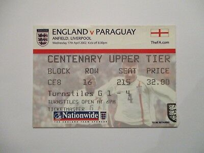 Ticket 2002 England V Paraguay At Liverpool.
