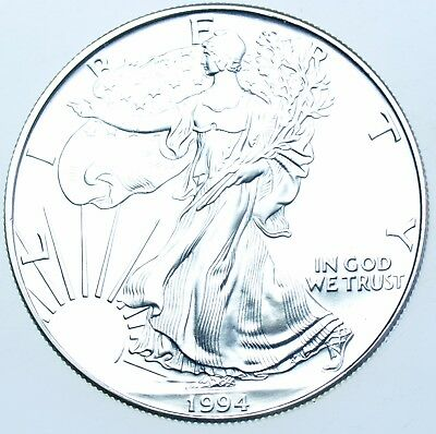 Usa, United States, 1Oz Fine Silver Eagle Dollar $1, 1994 Coin In A Capsule Bu