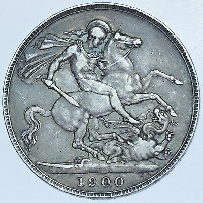 1900 Lxiv Crown, British Silver Coin From Victoria Gvf