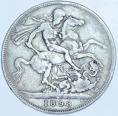 Rare 1898 Lxi Crown, British Silver Coin From Victoria Fine