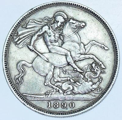 1890 Crown, British Silver Coin From Victoria Gvf