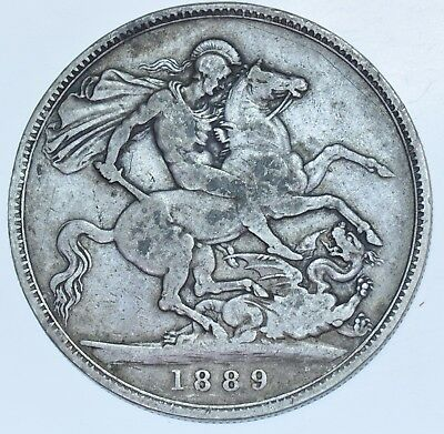1889 CROWN, BRITISH SILVER COIN FROM VICTORIA aVF
