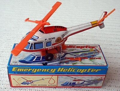 Vintage Helicopter Fire Chief YONE No. 2229 Japan with box wind-up tin toy